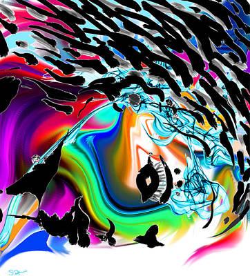 Woman Digital Art - Ink Girl Made Of Flowers by Abstract Angel Artist Stephen K