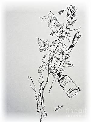 Drawing - Ink Line Art Still Life Flowers And Objects by Ginette Callaway
