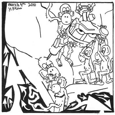 Team Of Monkeys Drawing - Ink Monkeys by Yonatan Frimer Maze Artist