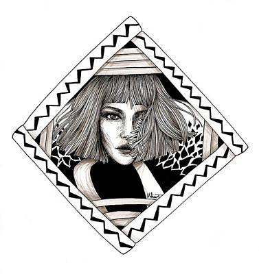 Ink Portrait Art Print by Mahinaz Soliman