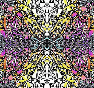 Digital Art -  Ink Rainbow Mandala by Expressionistart studio Priscilla Batzell
