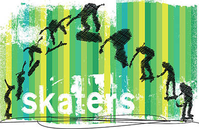 Edgy Painting - Ink Sketch Of Skateboard Jump Sequence On Stripes by Elaine Plesser