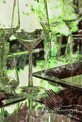 Hand Painted Wine Glass Painting - Ink Wash Painting Party Setting With Colorful Bokeh Background by Eiko Tsuchiya