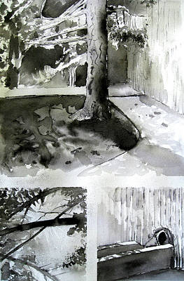 Drained Drawing - Ink Wash Under A Tree by Nils Bifano