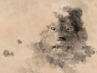 Digital Art - Ink Wolf by Daniel Eskridge