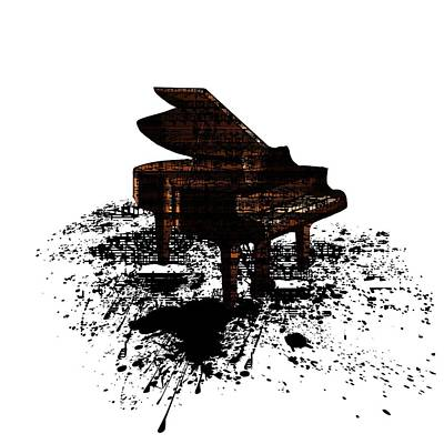 Digital Art - Inked Gold Piano by Barbara St Jean