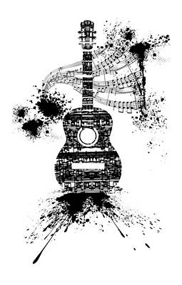 Digital Art - Inked Guitar Transparent Background by Barbara St Jean