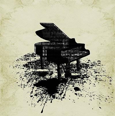 Digital Art - Inked Piano Sepia by Barbara St Jean