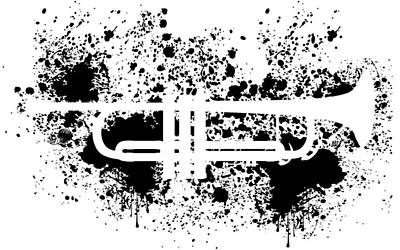 Digital Art - Inked Trumpet by Barbara St Jean