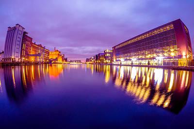 Architektur Digital Art - Inland Harbour Duisburg At Dawn by Manuel Wieler