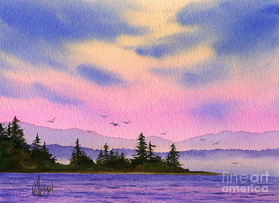 Art Print featuring the painting Inland Sea Sunset by James Williamson