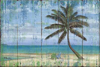 Palm Painting - Inlet Palm - Distressed by Paul Brent