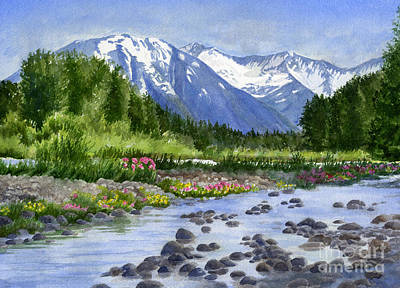 Mountain Snow Landscape Painting - Inlet View From Glacier Creek by Sharon Freeman