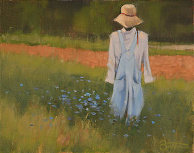 Farm Fields Painting - Inman Scarecrow by Todd Baxter