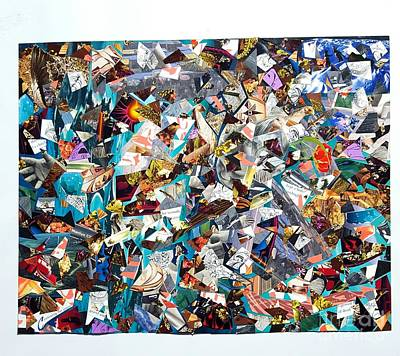Abstract Collage Drawing - Innate Crush by Steven Vance Banda