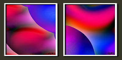 Painting - Inner Cosmos 2 Red Diptych Contemporary Digital Art  by G Linsenmayer