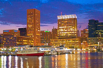 Photograph - Inner Harbor At Night - Hdr by Lou Ford