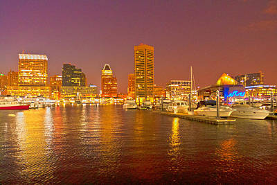 Photograph - Inner Harbor At Night 2 - Hdr by Lou Ford