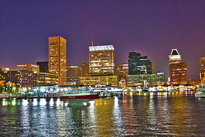 Photograph - Inner Harbor At Night 3 - Hdr by Lou Ford