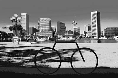 Photograph - Inner Harbor Bicycle Bike Rack by Andrew Dinh