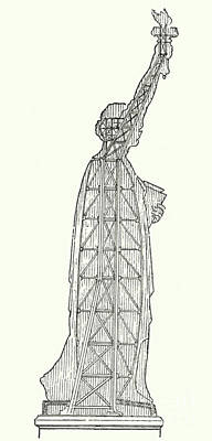 Statue Of Liberty Drawing - Inner Structure Of The Statue Of Liberty by French School