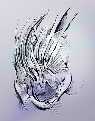 Abstract Shapes Drawing - Inner Workings by Keith A Link