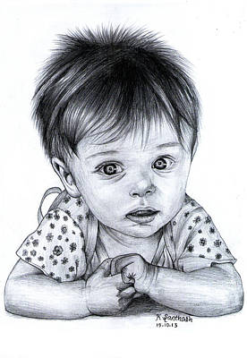 Innocent Baby Pencil Drawing Original by Santhosh Skp