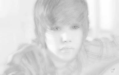 Justin Bieber Drawing Drawing - Innocent Eyes Of Justin. by Erwin Verhoeven