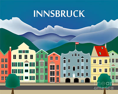 Winter Sports Digital Art - Innsbruck Austria Horizontal Scene by Karen Young