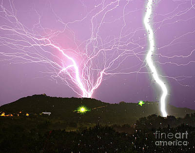 Medina Lake Photograph - Insane Tower Lightning by Michael Tidwell