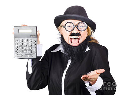 Accountancy Photograph - Insane Woman Shouting And Holding Calculator by Jorgo Photography - Wall Art Gallery