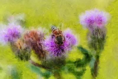 Photograph - Insect On Thistle 2015 Artistic by Leif Sohlman