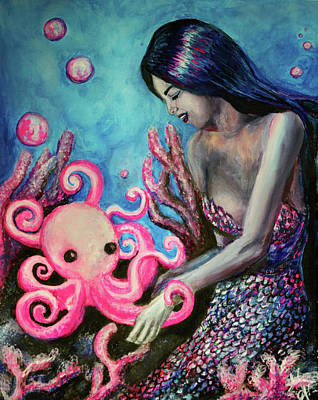 Mermaid Painting - Inseperable by Monica Adrian
