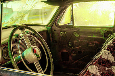 Photograph - Inside A Deteriorating Antique Vehicle by Douglas Barnett
