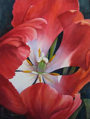 Inside A Tulip Art Print by Sue Zimmermann