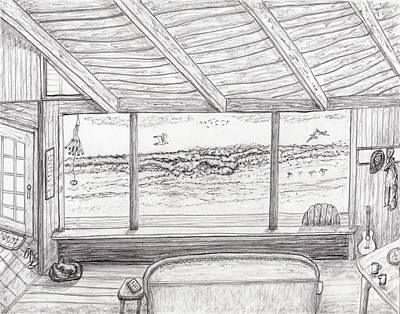 Drawing - Inside Beach Cabin by Jim Taylor