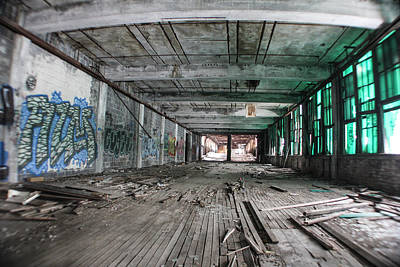 Detroit Abandoned Buildings Photograph - Inside Detroit Packard Plant  by John McGraw