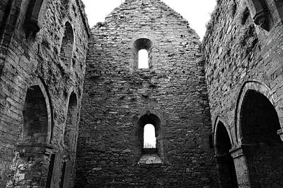 Photograph - Inside Jerpoint Abbey Irish Medieval 12th Century Ruins County Kilkenny Ireland Black And White by Shawn O'Brien