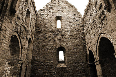 Photograph - Inside Jerpoint Abbey Irish Medieval 12th Century Ruins County Kilkenny Ireland Sepia by Shawn O'Brien