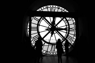 Photograph - Inside Musee D'orsay Giant Clock Overlooking Paris France Black And White by Shawn O'Brien