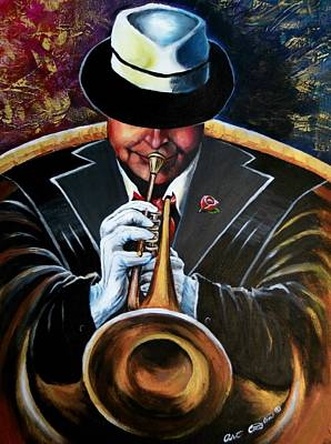 Trumpet Painting - Inside My Music Iv by Arthur Covington