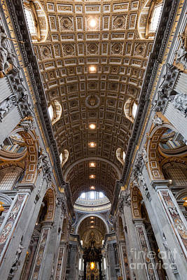 Photograph - Inside Of St. Peter Basilica In Vatican City by Michal Bednarek