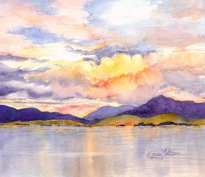 Wall Art - Painting - Inside Passage Sunset - Alaska by Karen Mattson