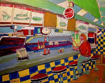 Montreal Snack Bar 1950 Painting - Inside Paul Patates Montreal Memories by Michael Litvack