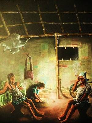 Bamboo Chair Painting - Inside Refugee Hut by Pralhad Gurung