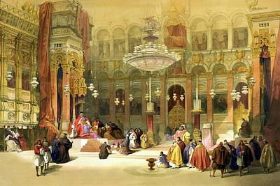 Holyland Drawing - Inside The Church Of The Holy Sepulchre by Munir Alawi