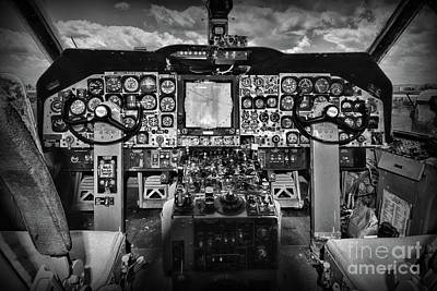 Photograph - Inside The Cockpit Black And White by Paul Ward