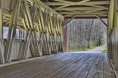Inside The Covered Bridge Art Print by William Sturgell