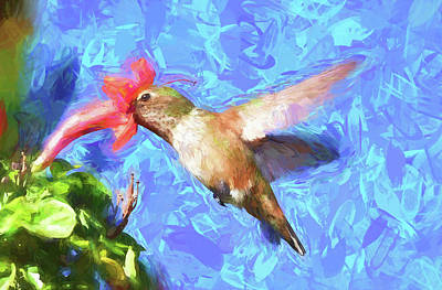 Abstract Hummingbird Digital Art - Inside The Flower - Impressionism Finish by Linda Brody