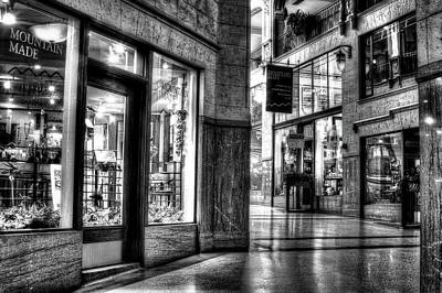 Photograph - Inside The Grove Arcade Black And White by Carol Montoya